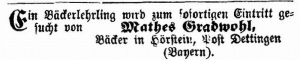 המודעה של מאתס בעתון הקהילה היהודית של בוואריה, 22 בנובמבר, 1865