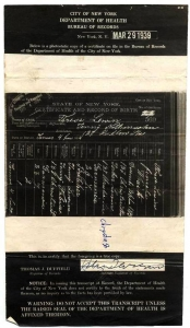 Birth Certificate for Isidor's Eldest Daughter